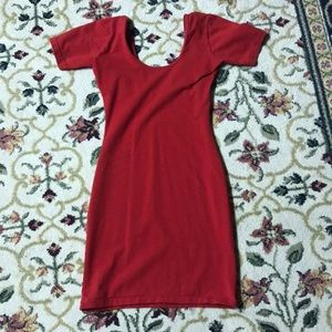 American apparel red fitted tee shirt dress